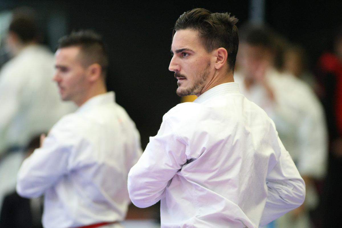 Fran Salazar, Damián Quintero, y Pepe Carbonell (fuera de plano) · Karate1 Premier League · Hanau 2014